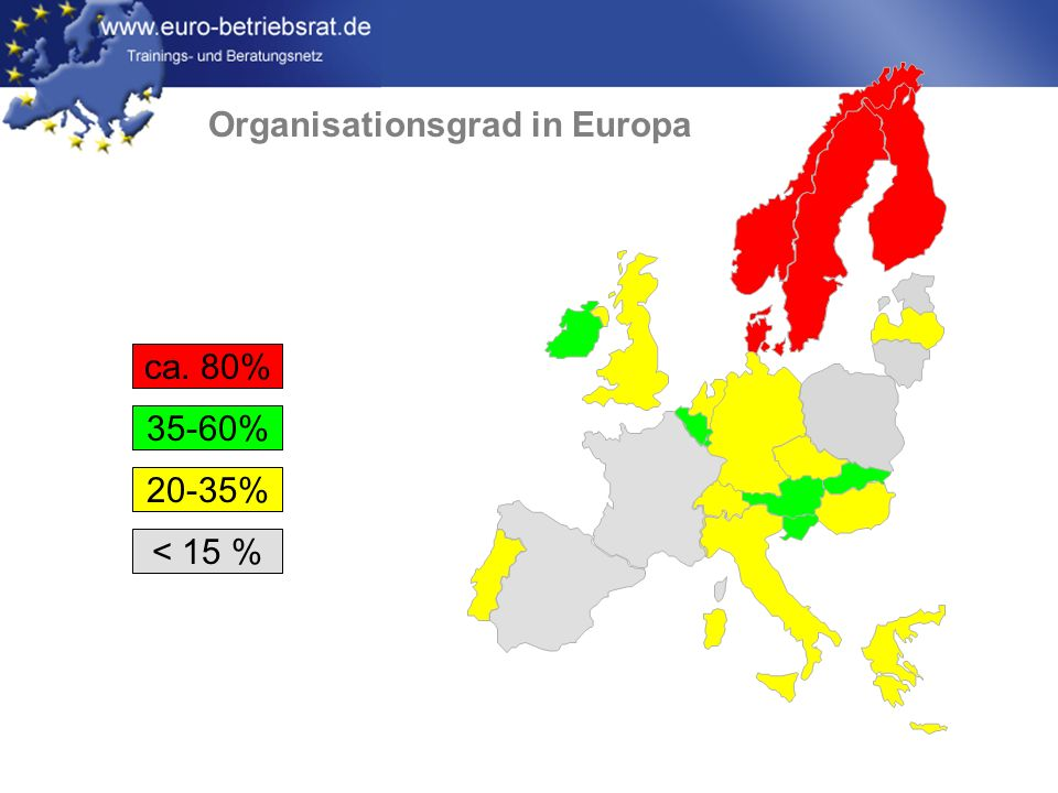Organisationsgrad in Europa