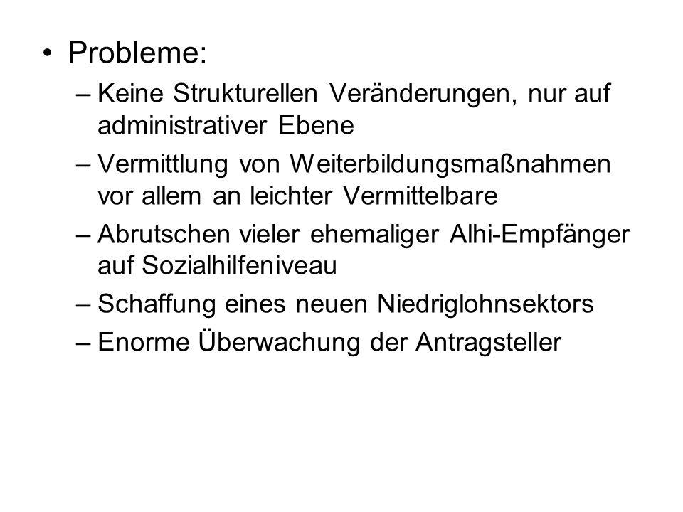 Probleme: Keine Strukturellen Veränderungen, nur auf administrativer Ebene.