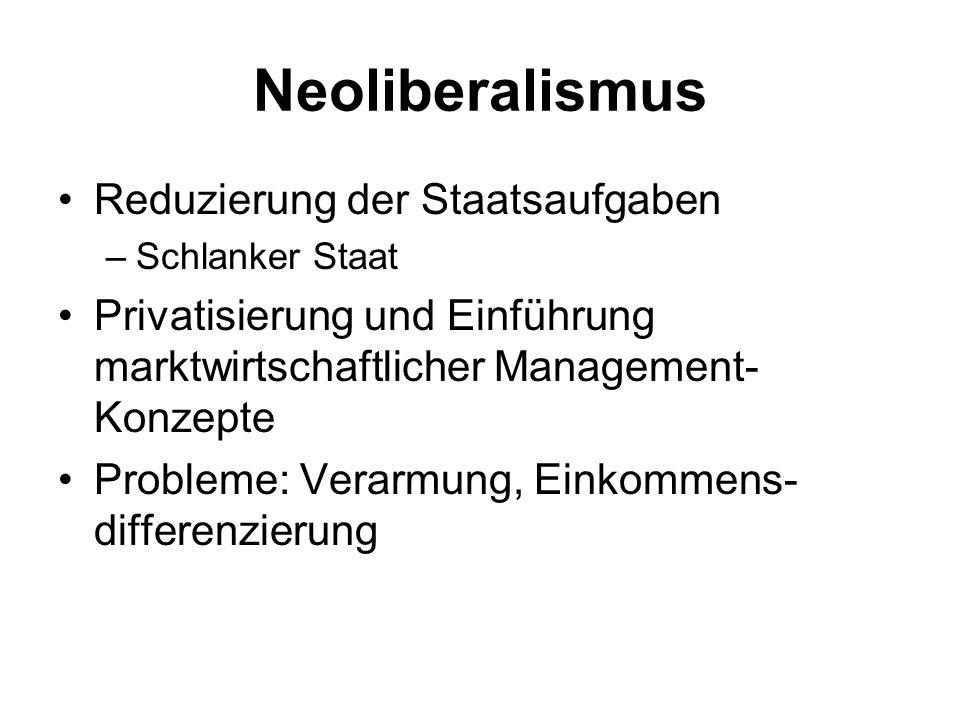 Neoliberalismus Reduzierung der Staatsaufgaben
