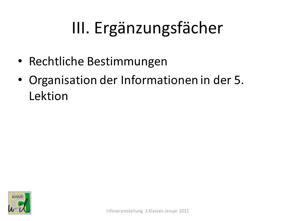 Infoverantstaltung 3.Klassen Januar 2011