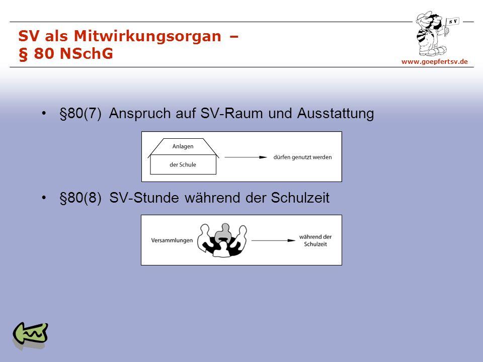 SV als Mitwirkungsorgan – § 80 NSchG