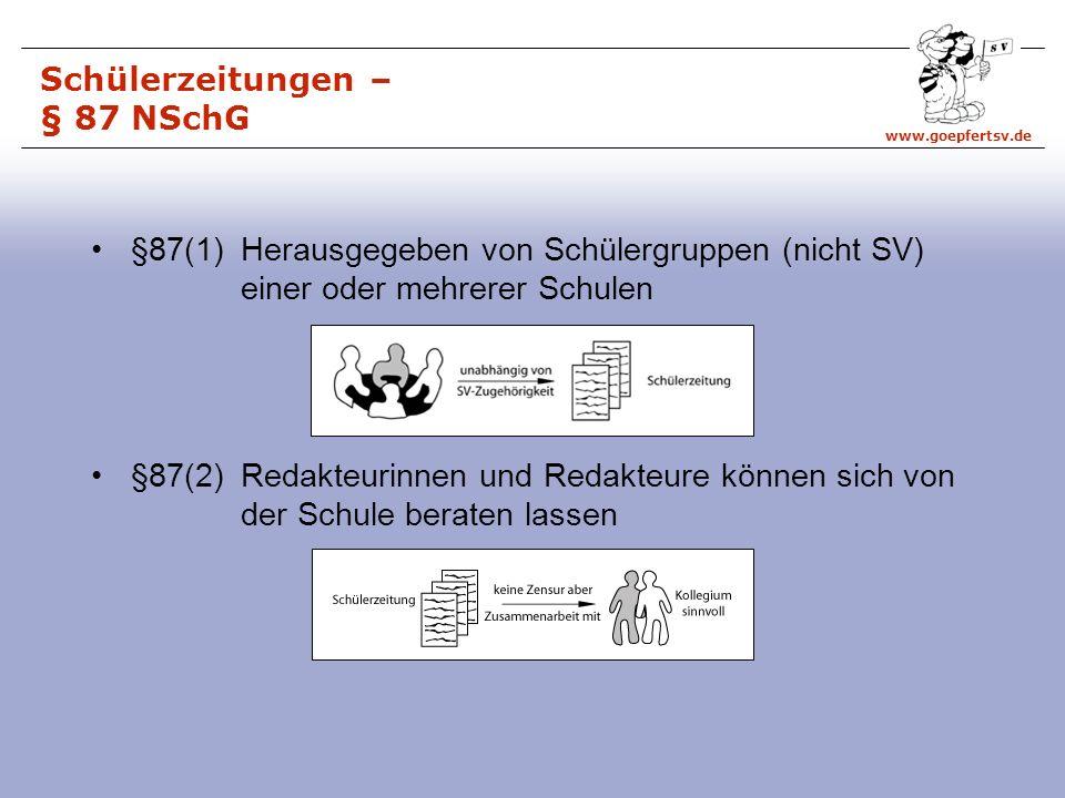 Schülerzeitungen – § 87 NSchG