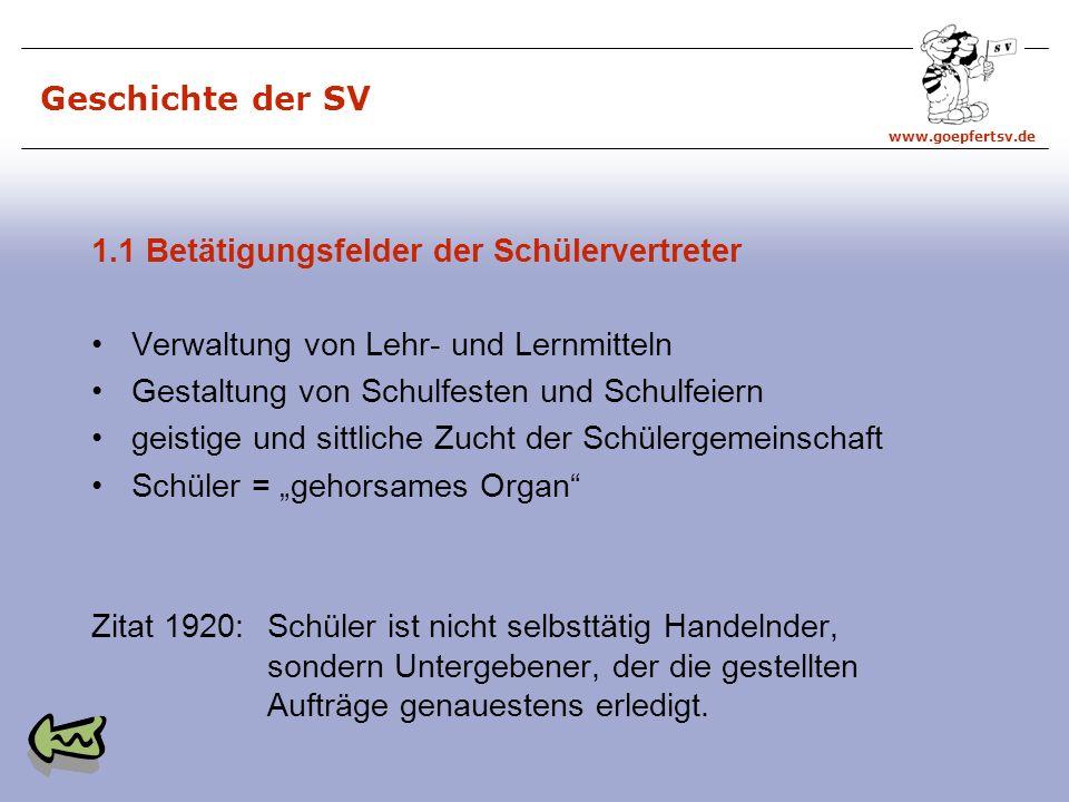 Geschichte der SV 1.1 Betätigungsfelder der Schülervertreter. Verwaltung von Lehr- und Lernmitteln.