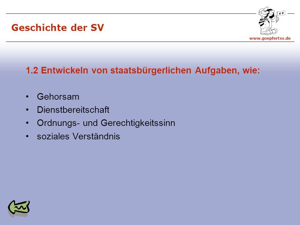 Geschichte der SV 1.2 Entwickeln von staatsbürgerlichen Aufgaben, wie: Gehorsam. Dienstbereitschaft.