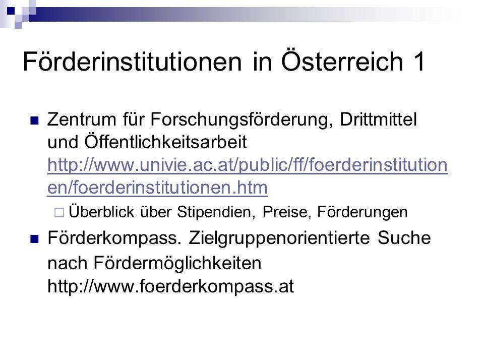 Förderinstitutionen in Österreich 1