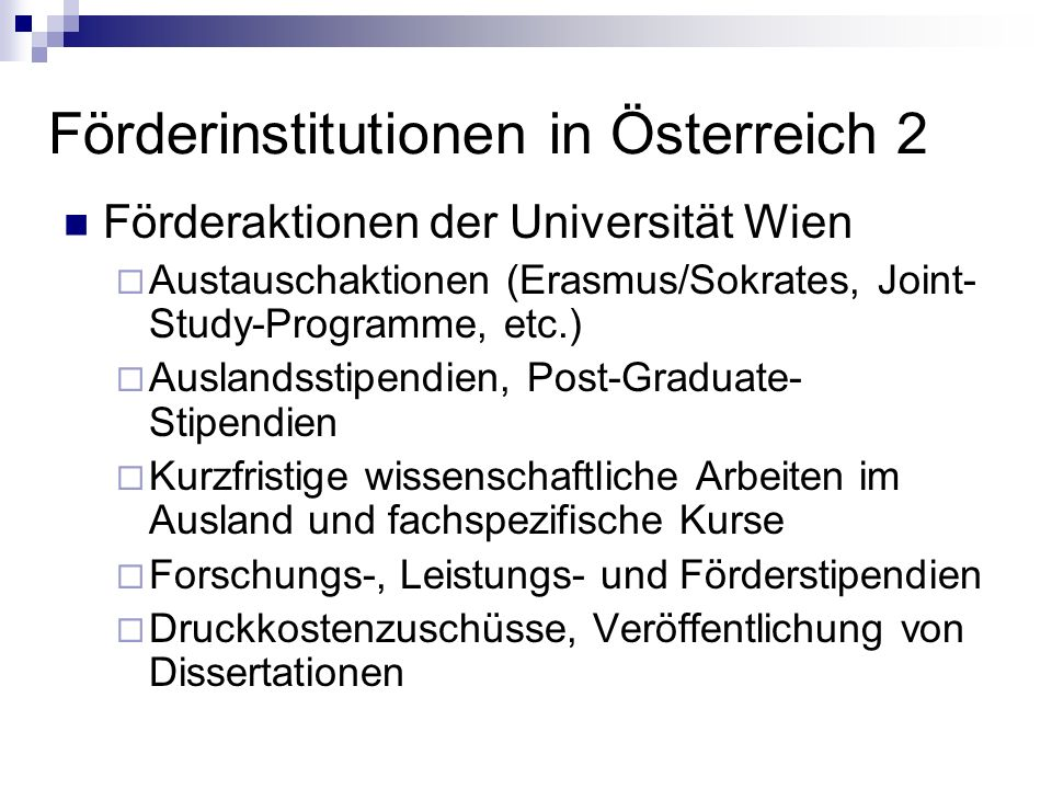 Förderinstitutionen in Österreich 2