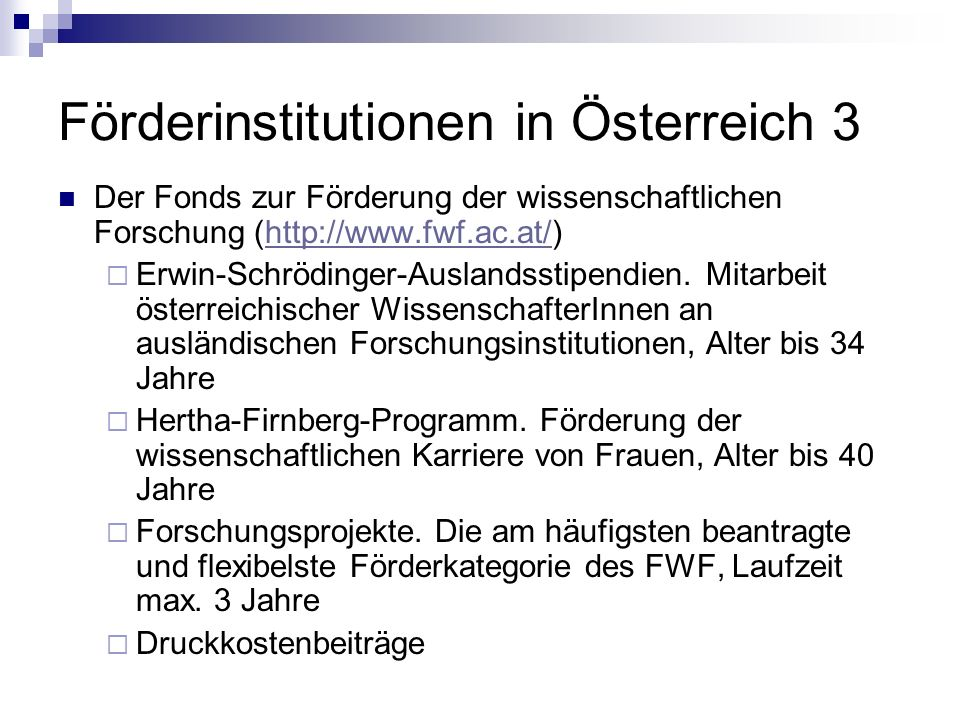 Förderinstitutionen in Österreich 3