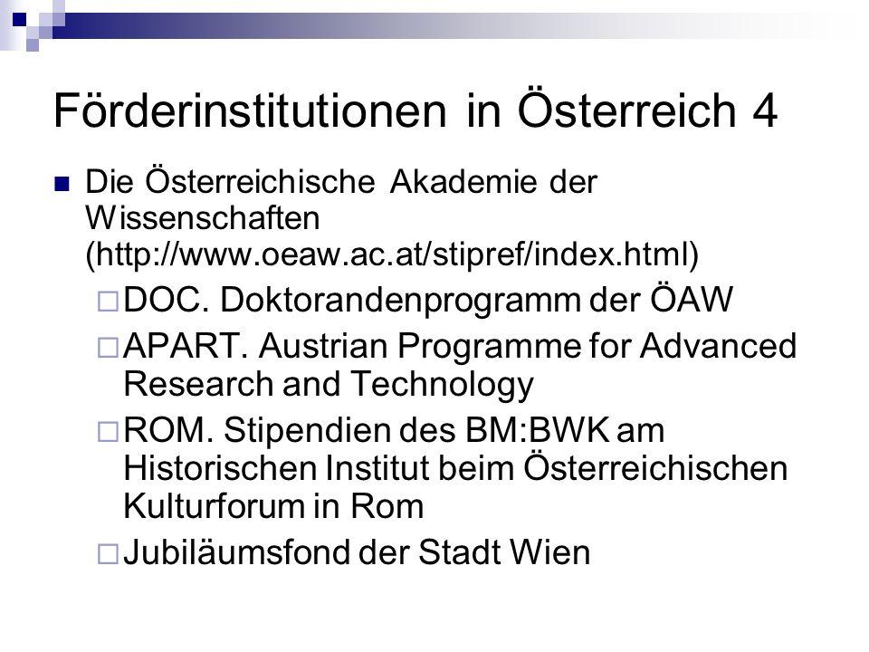 Förderinstitutionen in Österreich 4