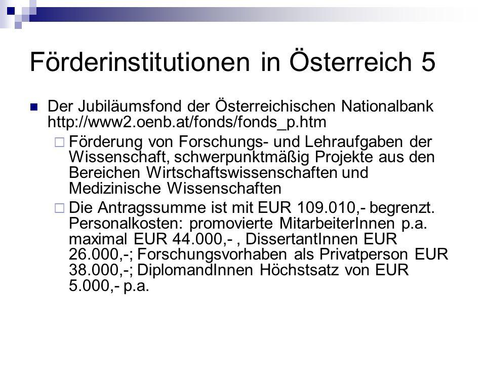 Förderinstitutionen in Österreich 5