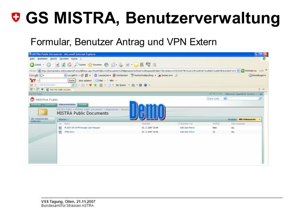 GS MISTRA, Benutzerverwaltung