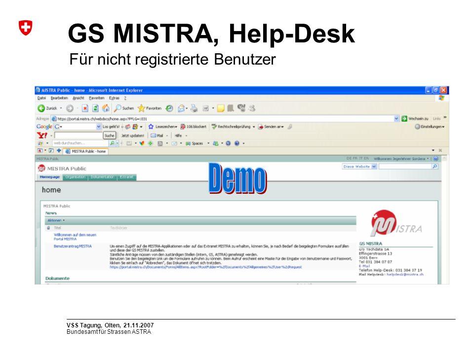 GS MISTRA, Help-Desk Demo Für nicht registrierte Benutzer