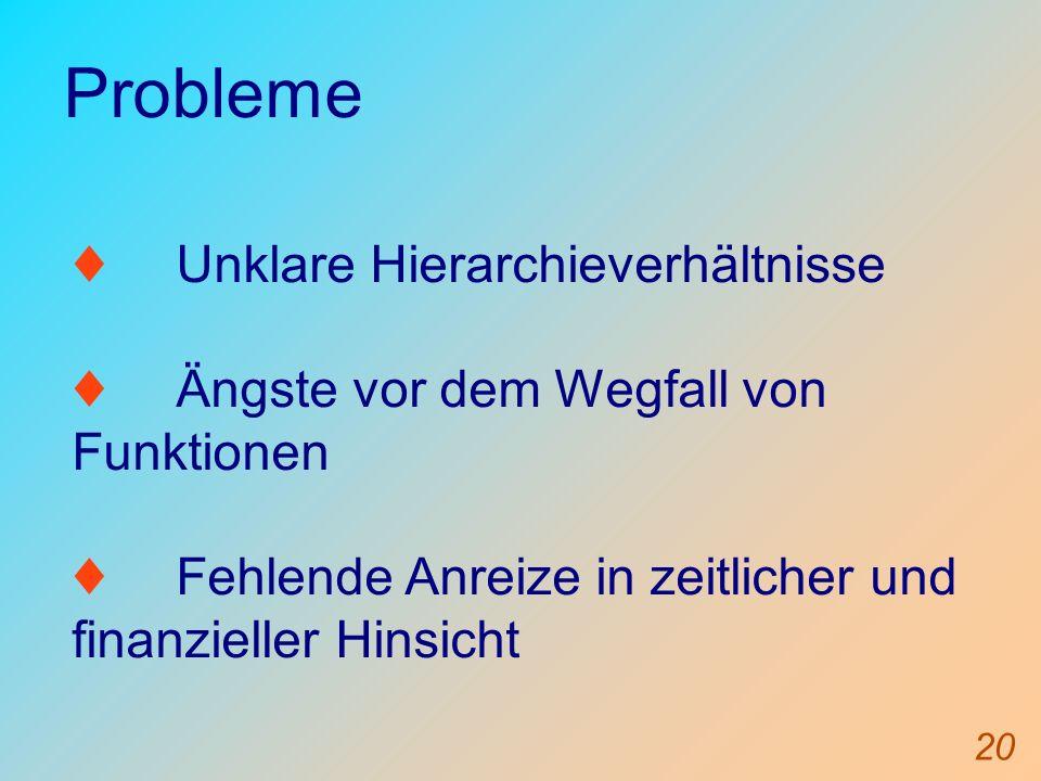 Probleme ♦ Unklare Hierarchieverhältnisse