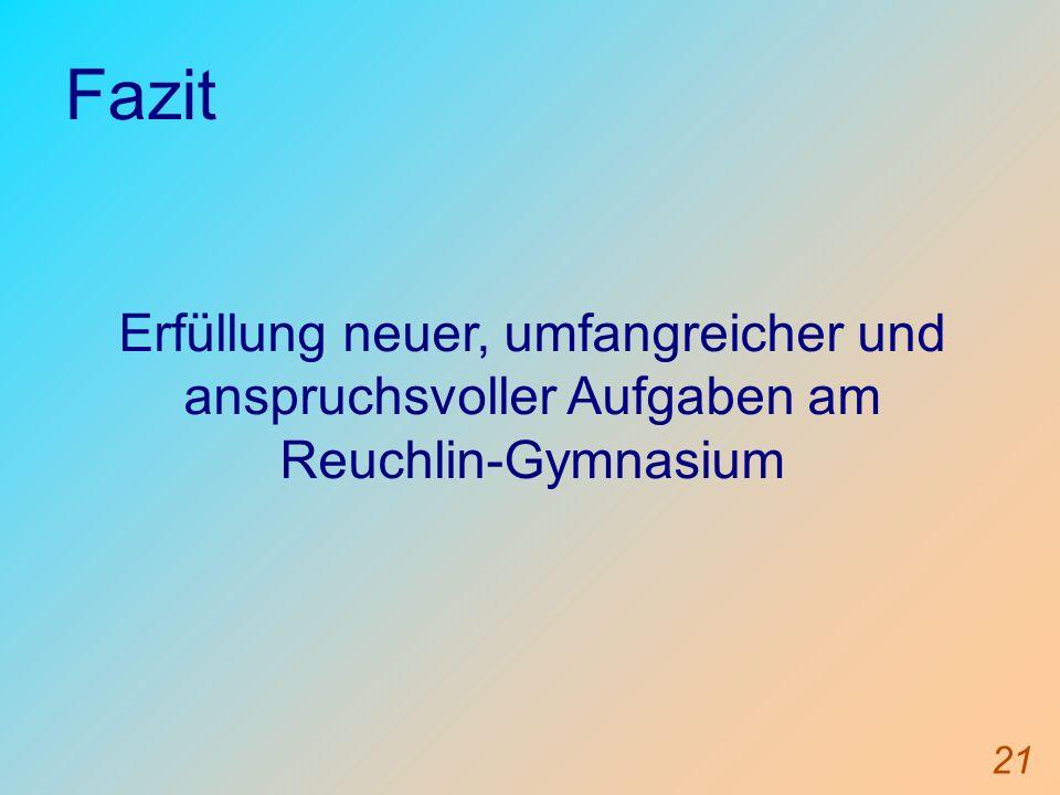 Fazit Erfüllung neuer, umfangreicher und anspruchsvoller Aufgaben am Reuchlin-Gymnasium 21