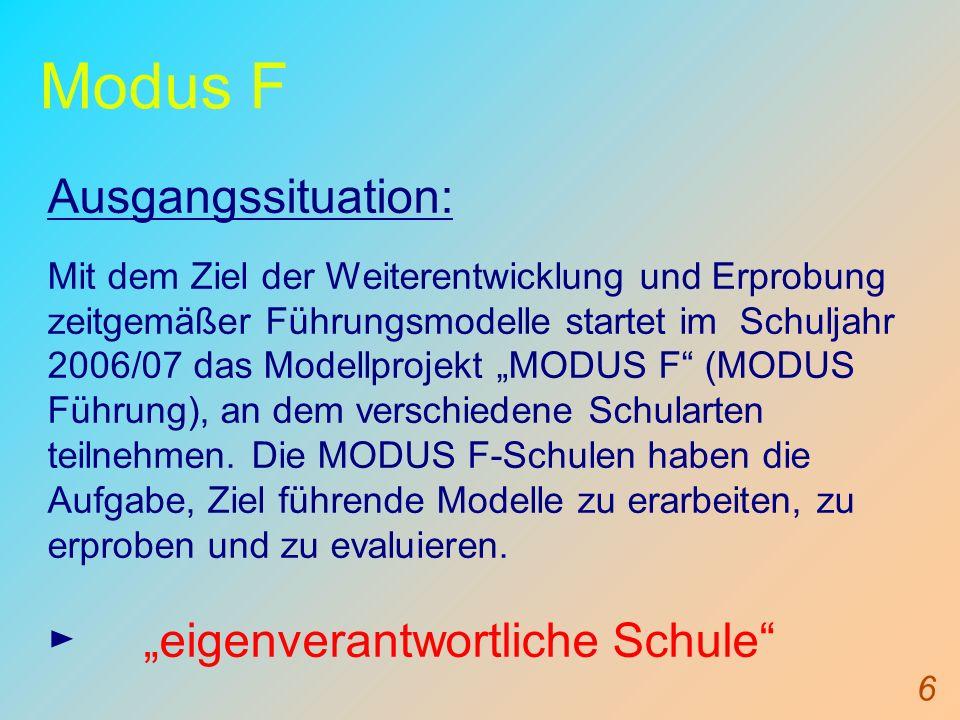 """Modus F Ausgangssituation: ► """"eigenverantwortliche Schule"""