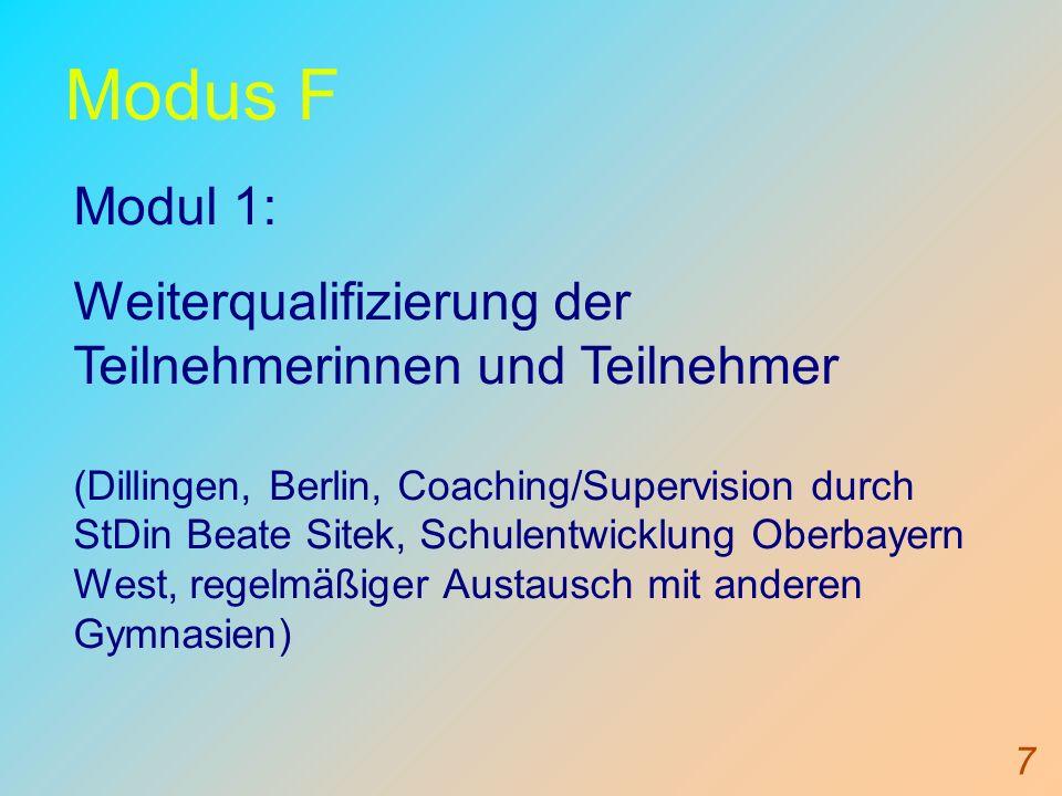 Modus F Modul 1: Weiterqualifizierung der Teilnehmerinnen und Teilnehmer.