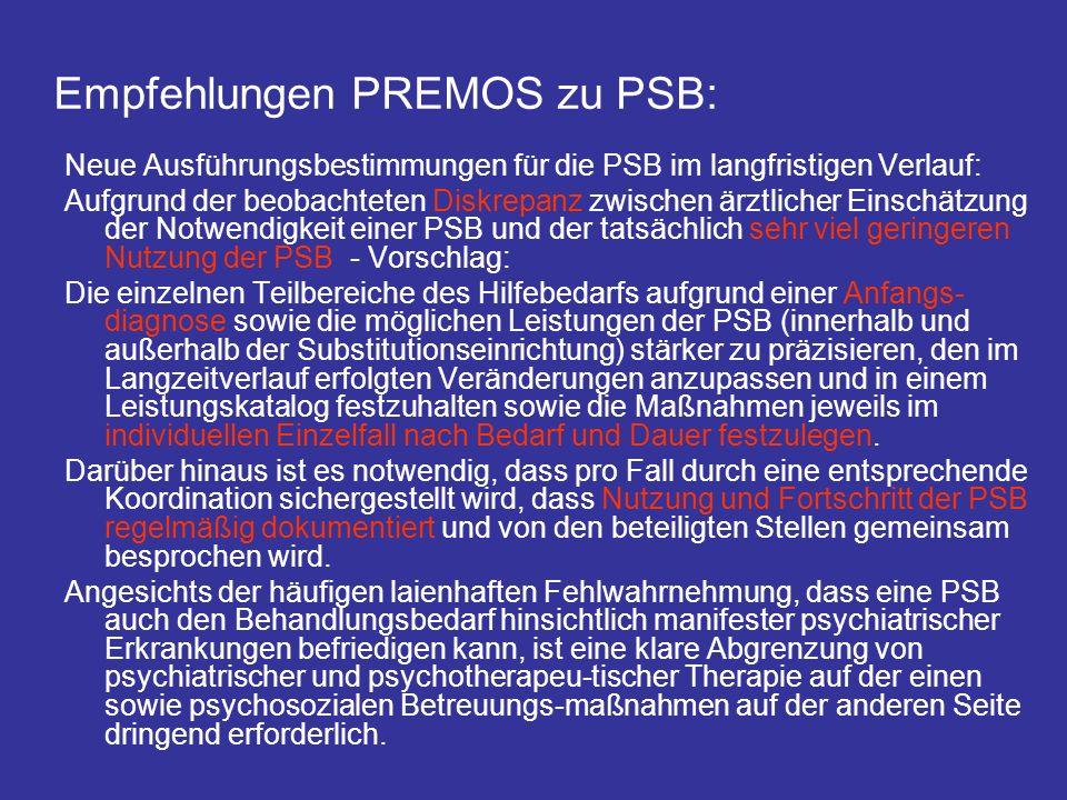 Empfehlungen PREMOS zu PSB: