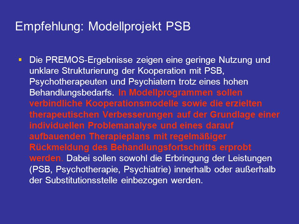 Empfehlung: Modellprojekt PSB