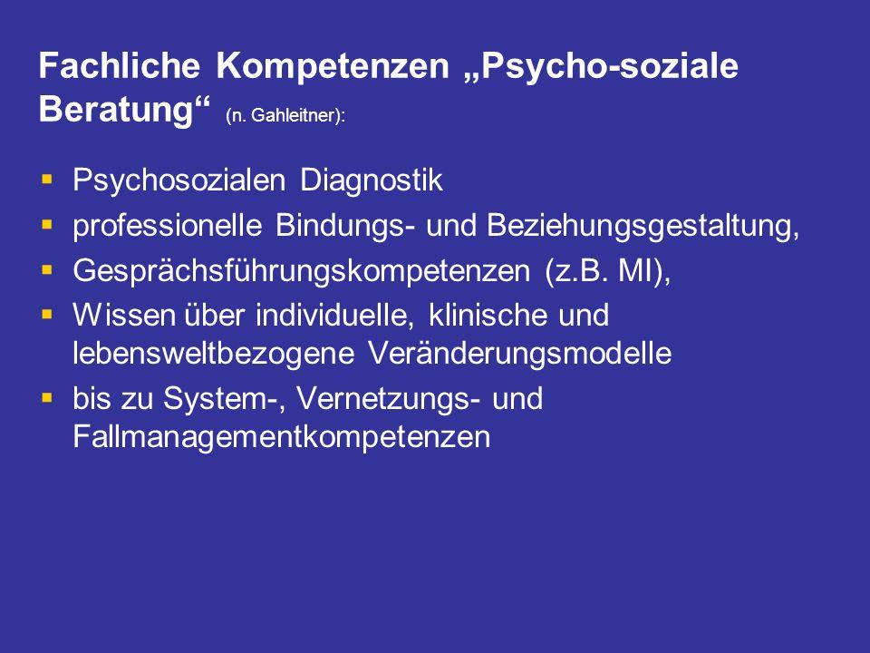 """Fachliche Kompetenzen """"Psycho-soziale Beratung (n. Gahleitner):"""
