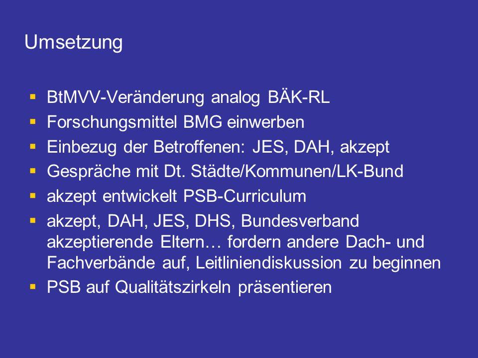 Umsetzung BtMVV-Veränderung analog BÄK-RL
