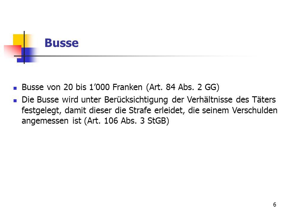 Busse Busse von 20 bis 1'000 Franken (Art. 84 Abs. 2 GG)
