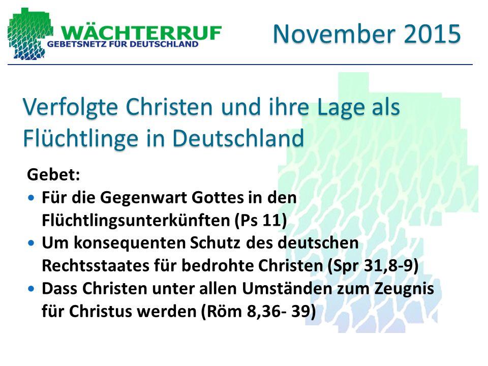 Verfolgte Christen und ihre Lage als Flüchtlinge in Deutschland
