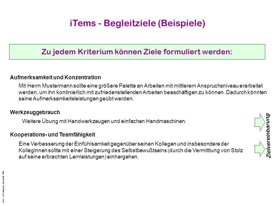 iTems - Begleitziele (Beispiele)