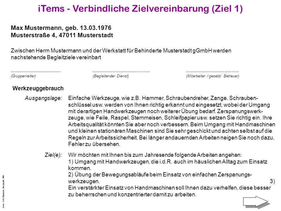 iTems - Verbindliche Zielvereinbarung (Ziel 1)