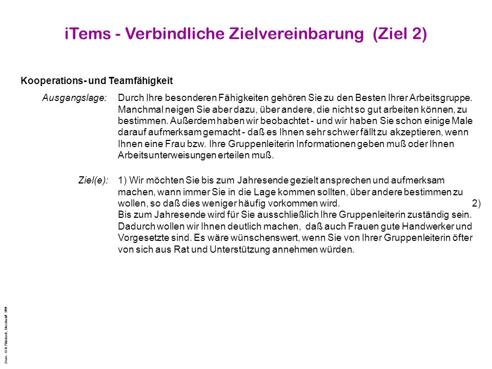 iTems - Verbindliche Zielvereinbarung (Ziel 2)