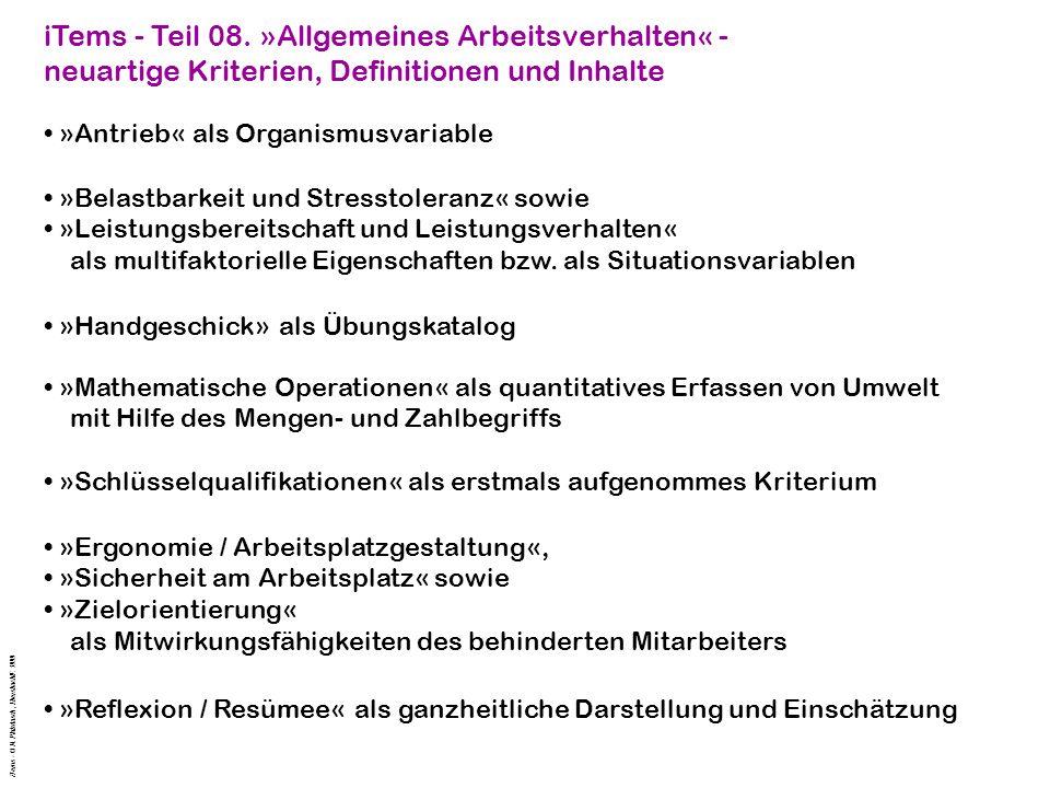 iTems - Teil 08. »Allgemeines Arbeitsverhalten« -