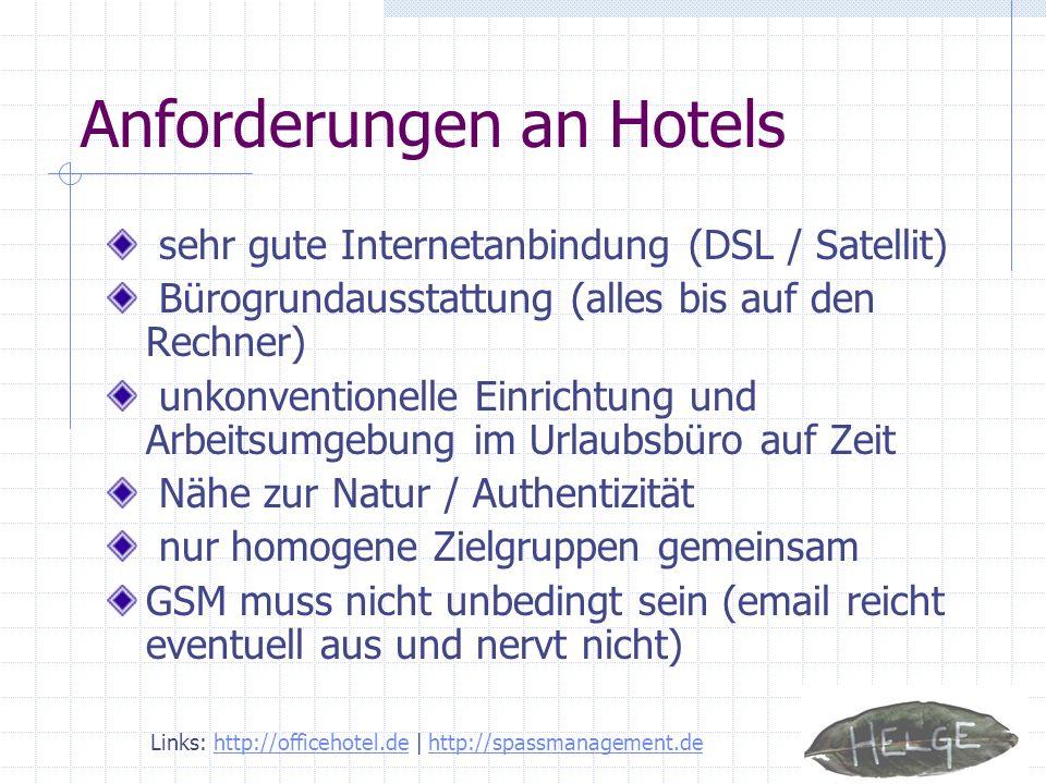 Anforderungen an Hotels