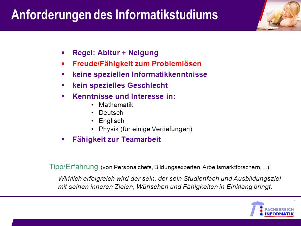 Anforderungen des Informatikstudiums