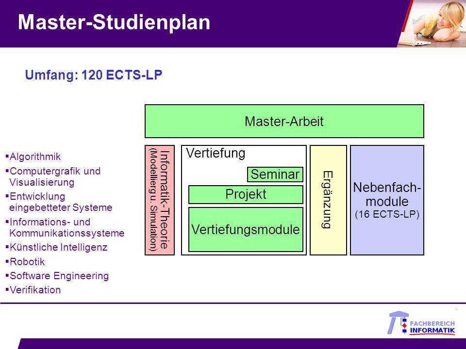 Master-Studienplan Umfang: 120 ECTS-LP Master-Arbeit Vertiefung