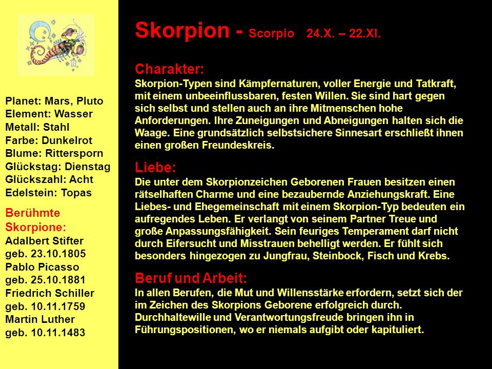 Skorpion - Scorpio 24.X. – 22.XI.
