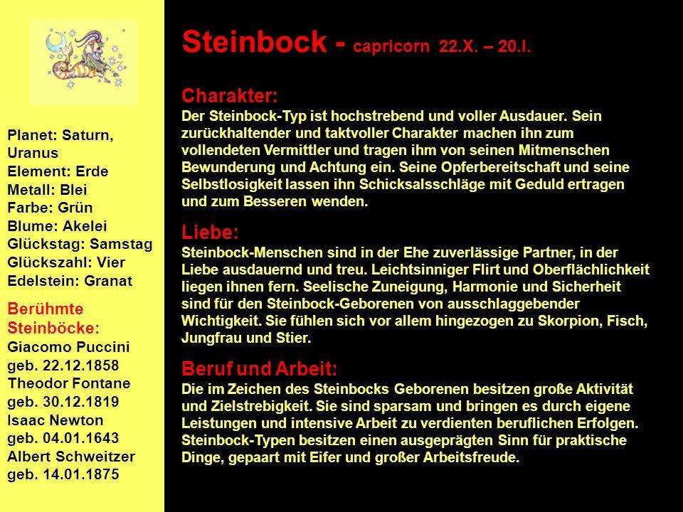 Steinbock - capricorn 22.X. – 20.I.