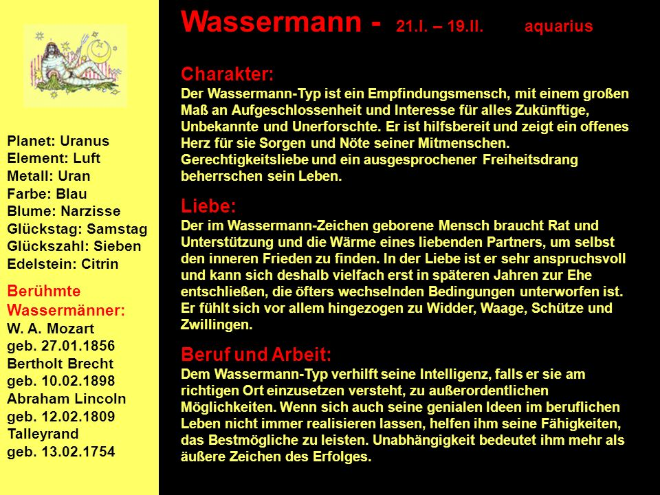 Wassermann - 21.I. – 19.II. aquarius