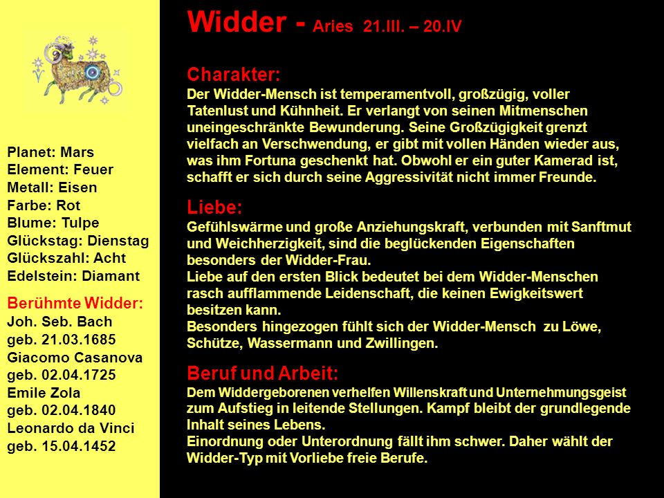 Widder - Aries 21.III. – 20.IV