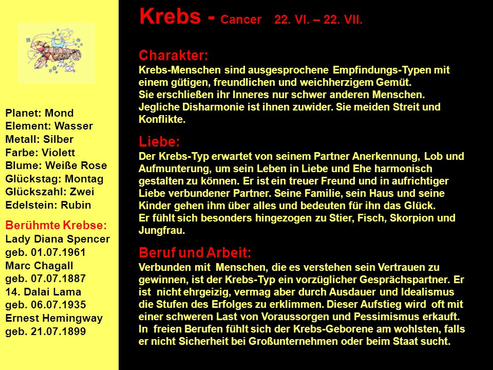 Krebs - Cancer 22. VI. – 22. VII.