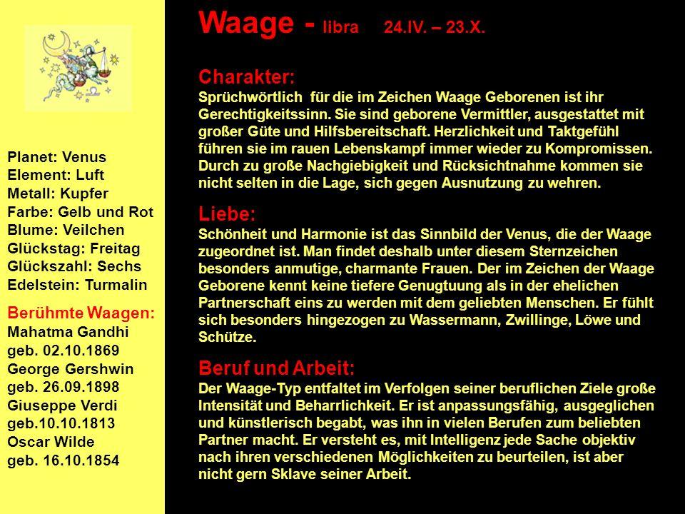 Waage - libra 24.IV. – 23.X.