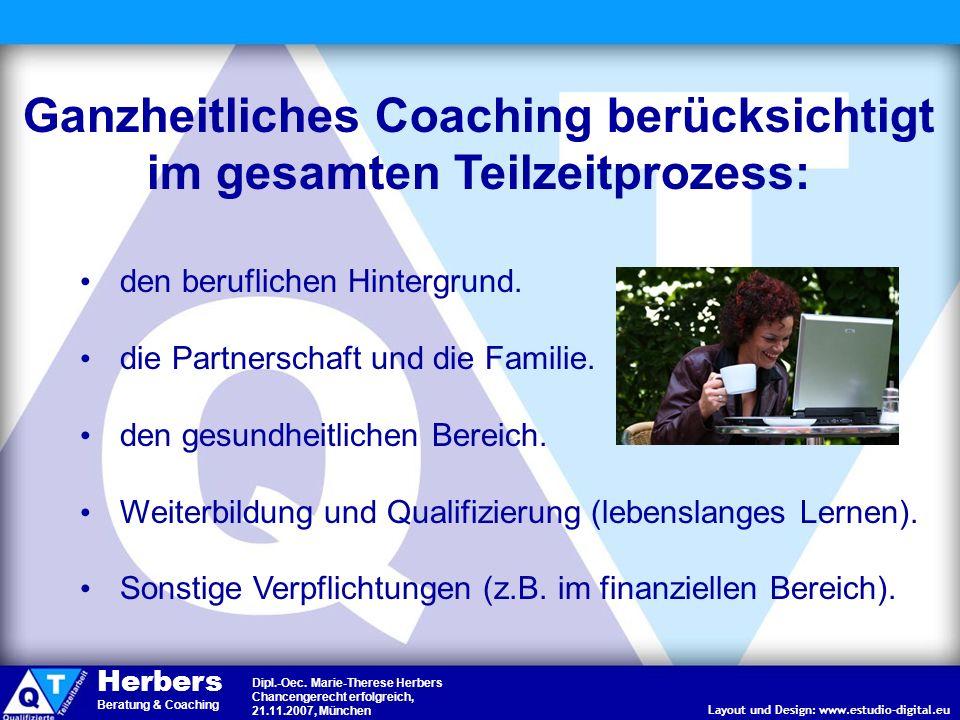 Ganzheitliches Coaching berücksichtigt im gesamten Teilzeitprozess: