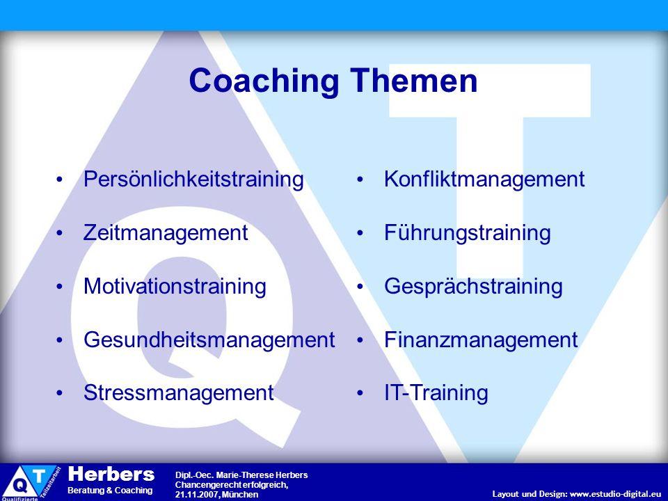 Coaching Themen Persönlichkeitstraining Zeitmanagement