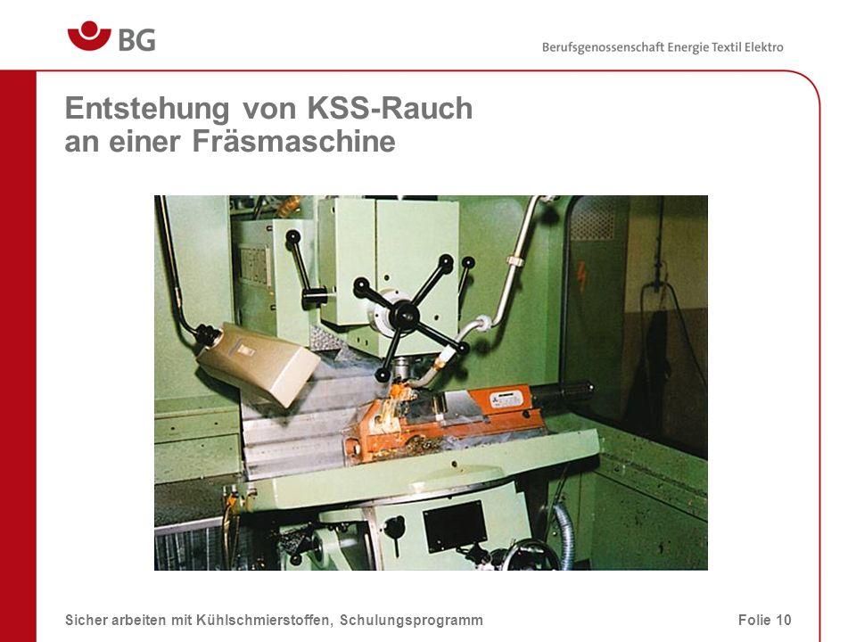 Entstehung von KSS-Rauch an einer Fräsmaschine