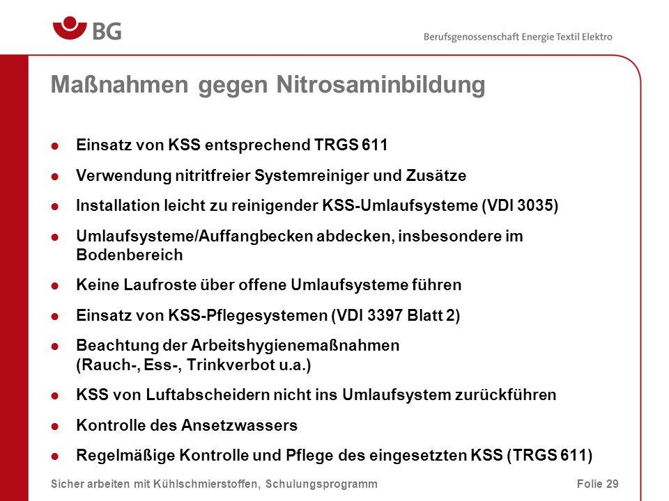 Maßnahmen gegen Nitrosaminbildung