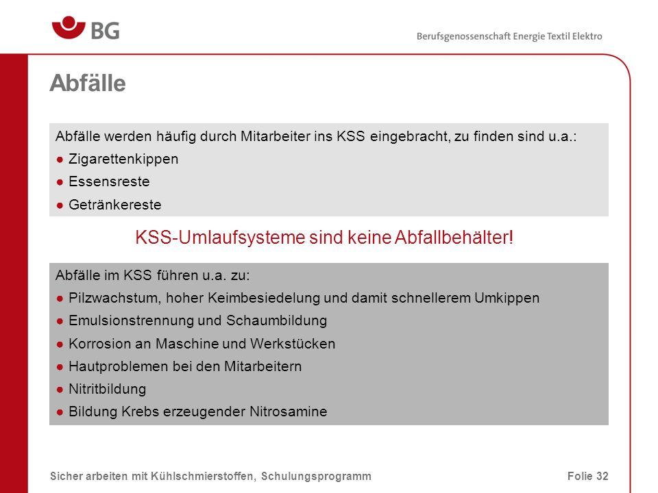 KSS-Umlaufsysteme sind keine Abfallbehälter!