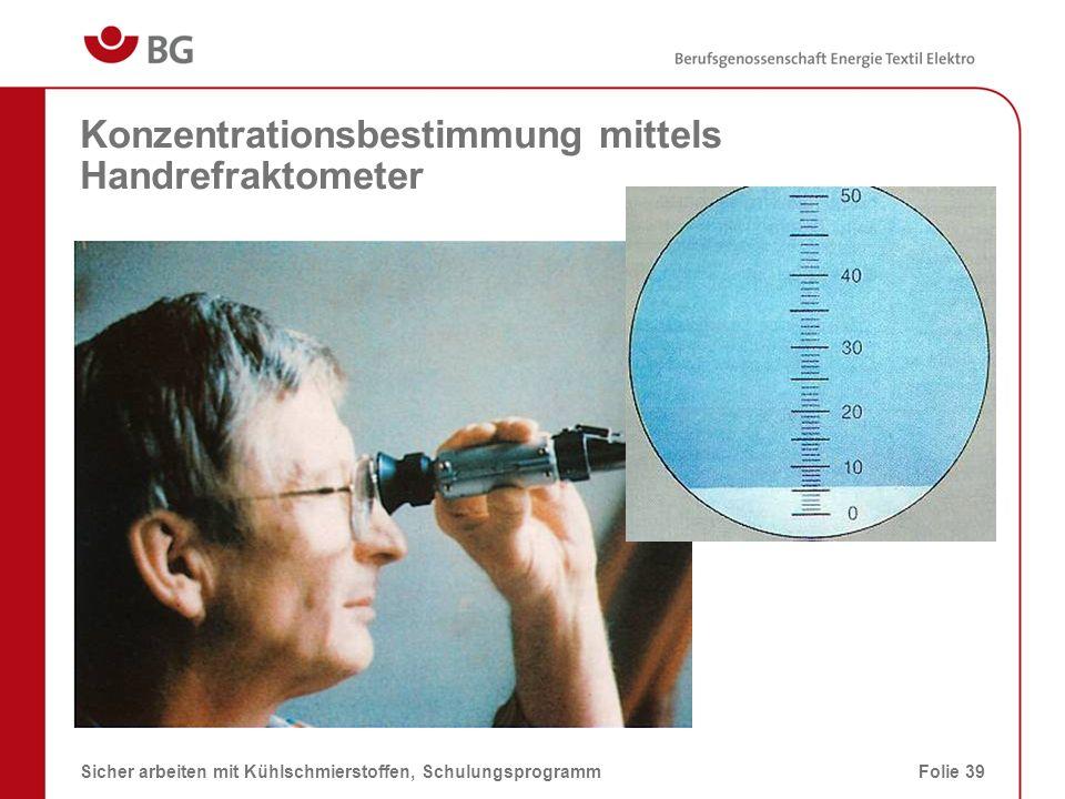 Konzentrationsbestimmung mittels Handrefraktometer