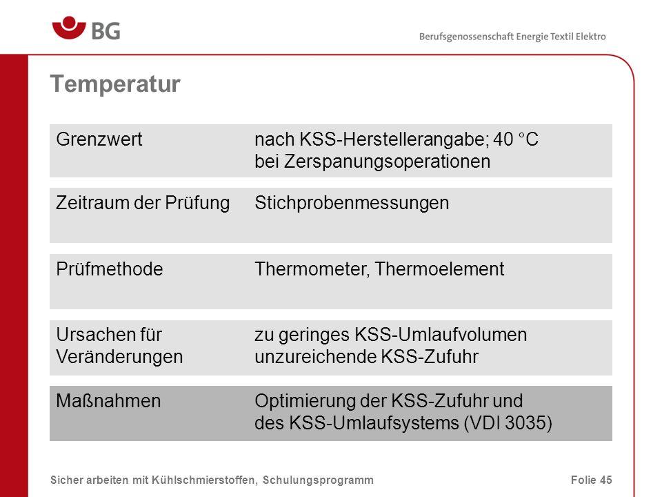 Temperatur Grenzwert nach KSS-Herstellerangabe; 40 °C