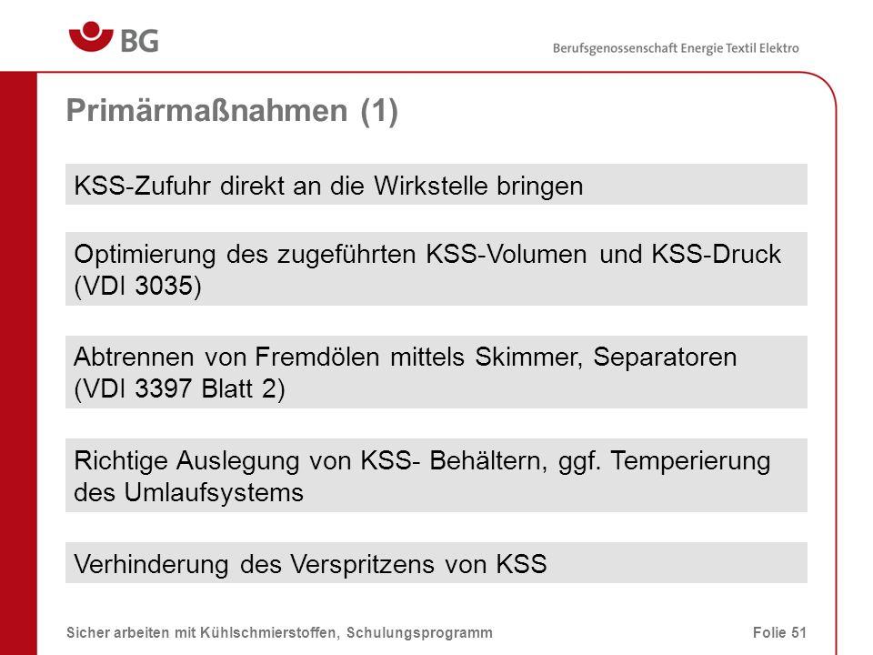 Primärmaßnahmen (1) KSS-Zufuhr direkt an die Wirkstelle bringen