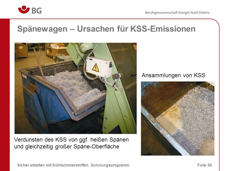 Spänewagen – Ursachen für KSS-Emissionen