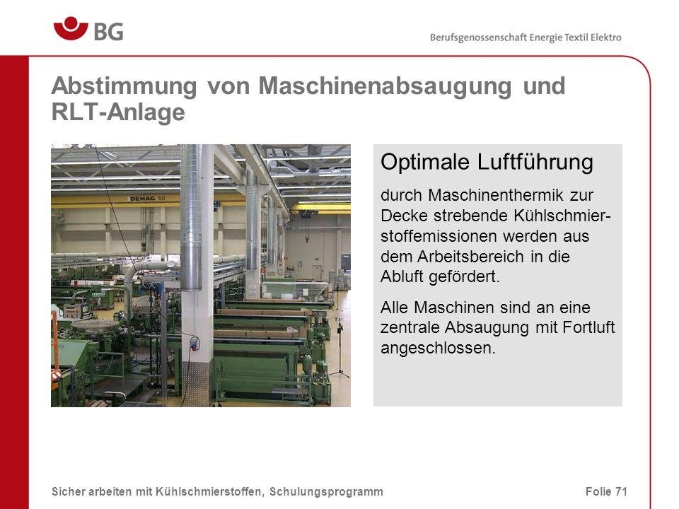 Abstimmung von Maschinenabsaugung und RLT-Anlage