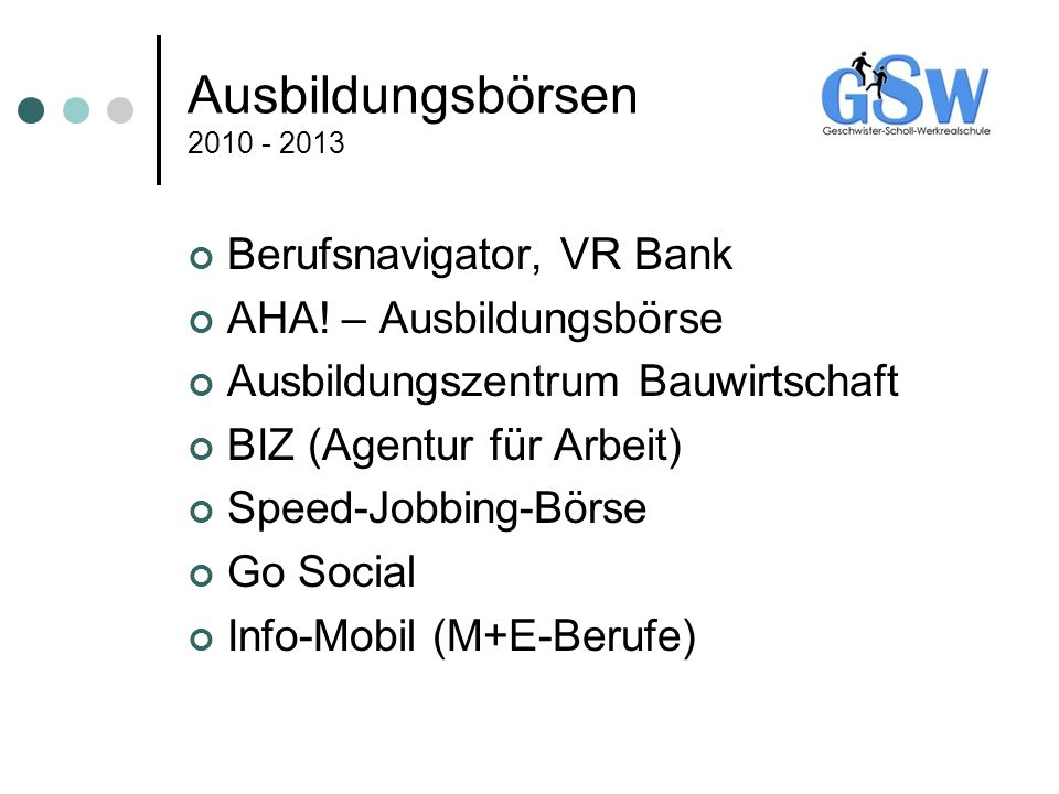 Ausbildungsbörsen 2010 - 2013 Berufsnavigator, VR Bank
