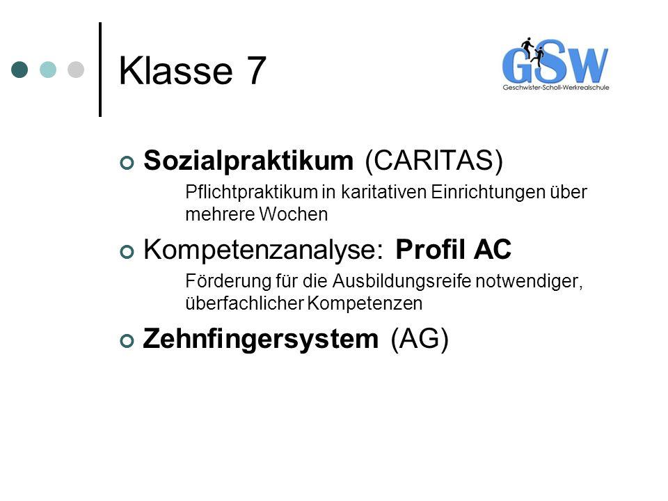Klasse 7 Sozialpraktikum (CARITAS) Kompetenzanalyse: Profil AC